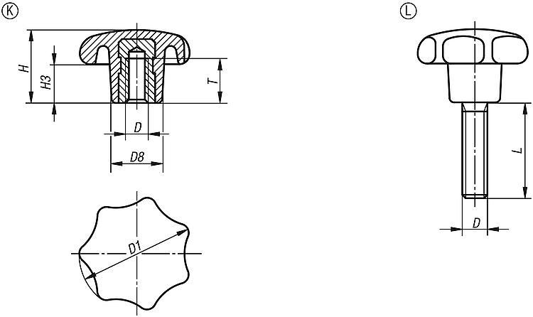 Kipp Hvezdicove Ovladaci Matice A Srouby Podle Din 6336